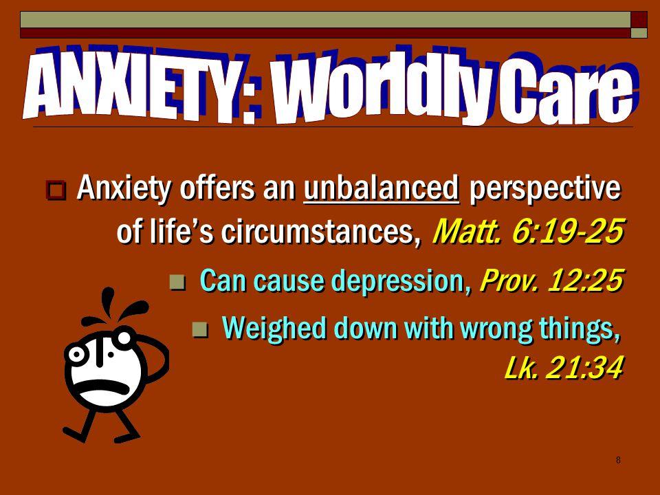 8  Anxiety offers an unbalanced perspective of life's circumstances, Matt.