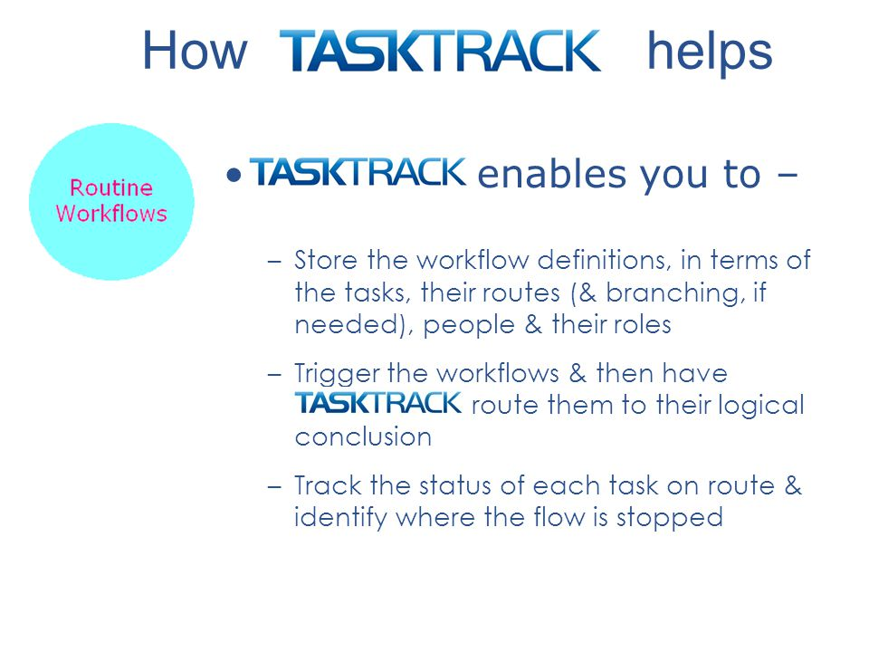 enables you to – –Store the workflow definitions, in terms of the tasks, their routes (& branching, if needed), people & their roles –Trigger the workflows & then have route them to their logical conclusion –Track the status of each task on route & identify where the flow is stopped How helps