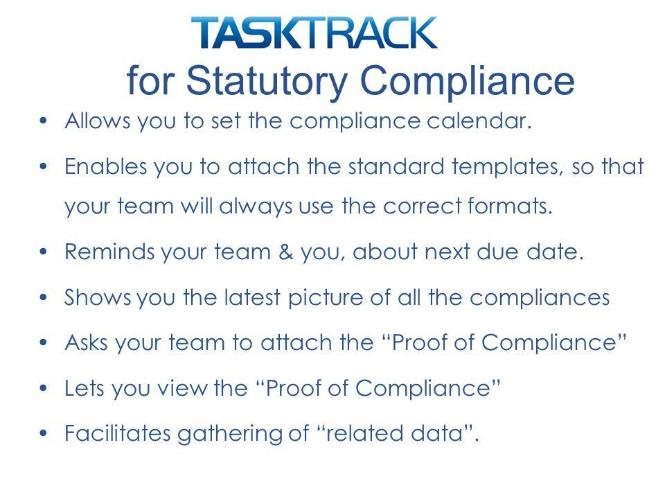 Allows you to set the compliance calendar.