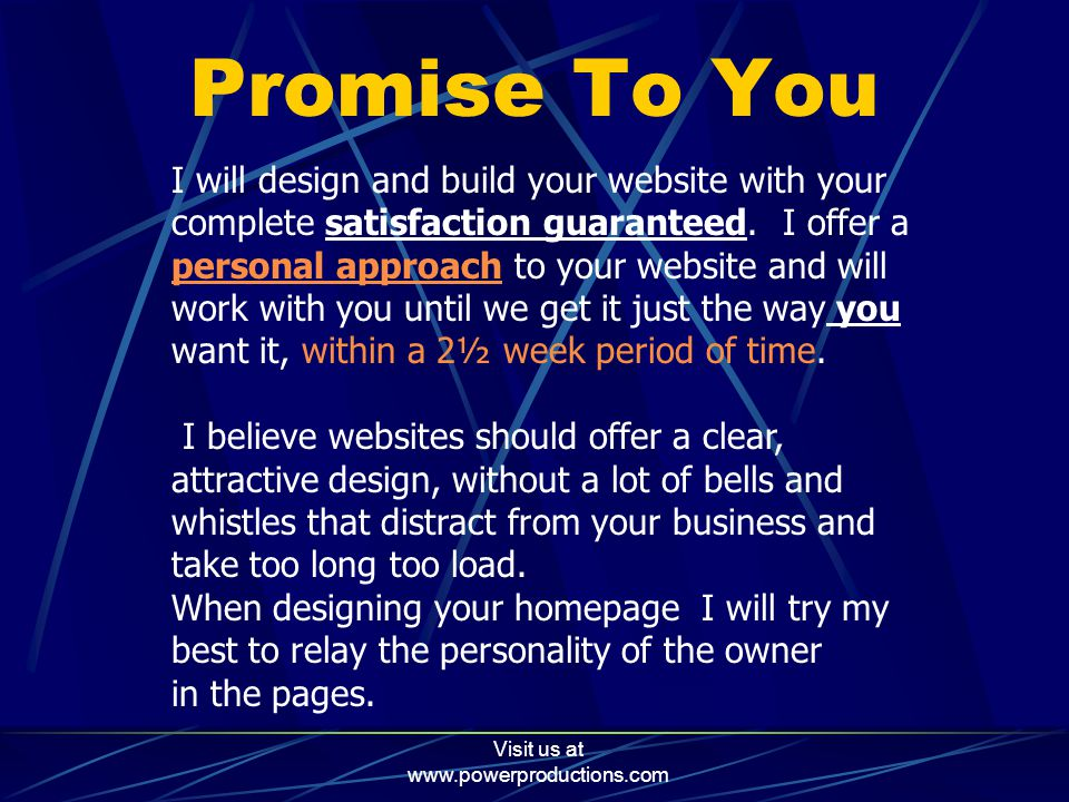 Visit us at www.powerproductions.com Business Web Space  GEOCITIES 25 MB of Web Space  GEOCITIES charges small fee  TRIPOD 15 MB of Web Space  TRIPOD charges small fee  VIRTUALAVE 2O MB Free Web Space