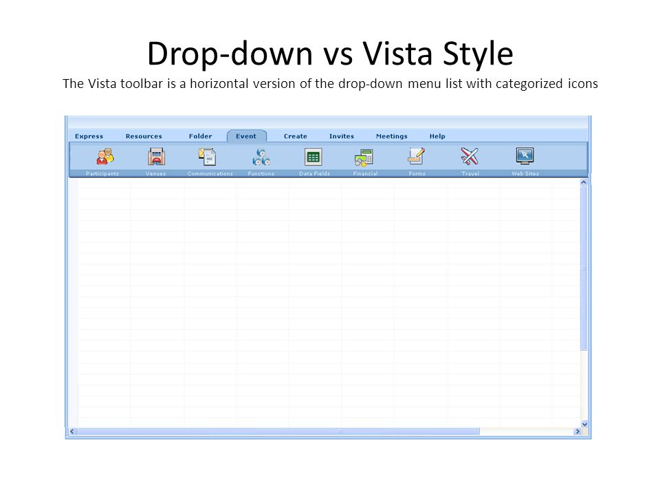 Drop-down vs Vista Style The Vista toolbar is a horizontal version of the drop-down menu list with categorized icons