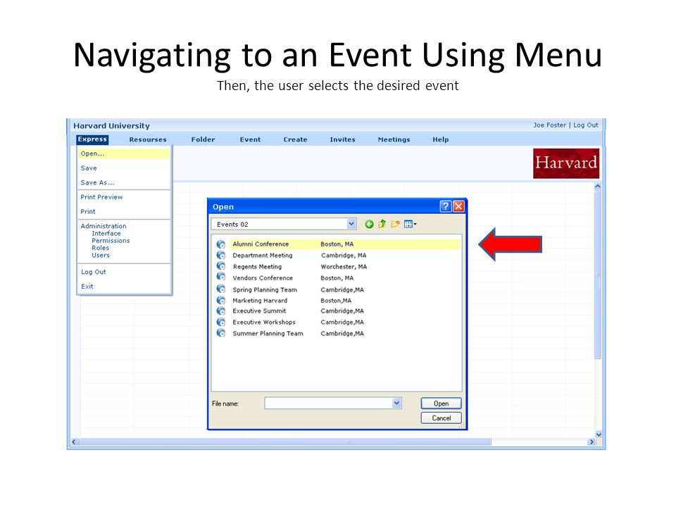 Navigating to an Event Using Menu Then, the user selects the desired event