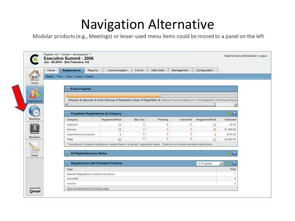 Navigation Alternative Modular products (e.g., Meetings) or lesser-used menu items could be moved to a panel on the left