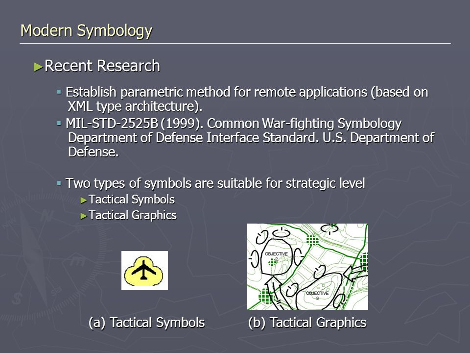 Modern Symbology ► Recent Research  Establish parametric method for remote applications (based on XML type architecture).