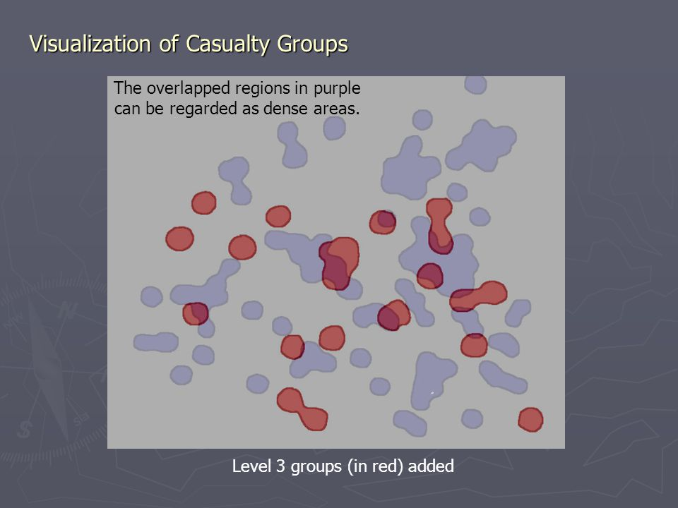 Visualization of Casualty Groups Level 3 groups (in red) added The overlapped regions in purple can be regarded as dense areas.