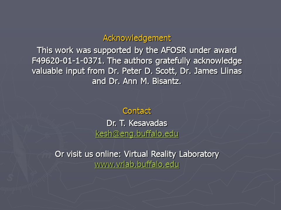 Acknowledgement This work was supported by the AFOSR under award F49620-01-1-0371.