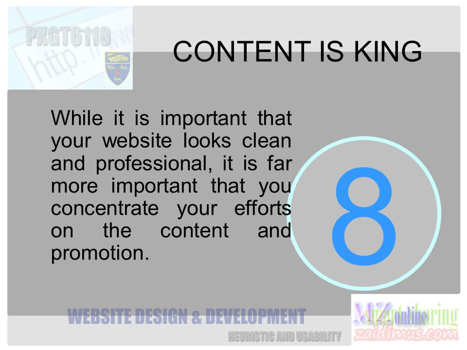 8 CONTENT IS KING While it is important that your website looks clean and professional, it is far more important that you concentrate your efforts on the content and promotion.