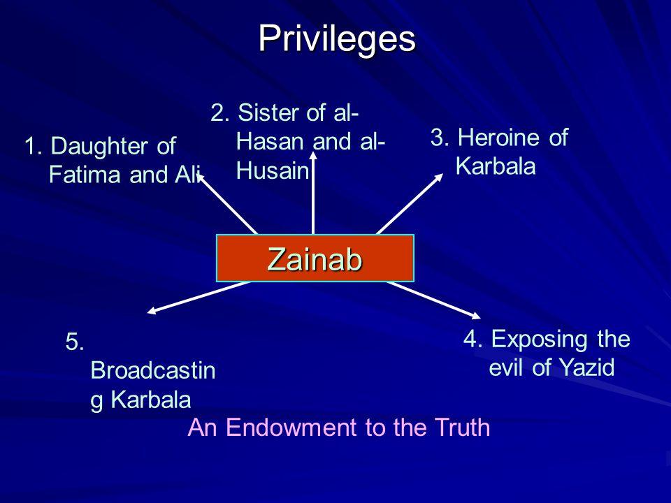 5. Broadcastin g Karbala 4. Exposing the evil of YazidPrivileges 2. Sister of al- Hasan and al- Husain 3. Heroine of Karbala 1. Daughter of Fatima and