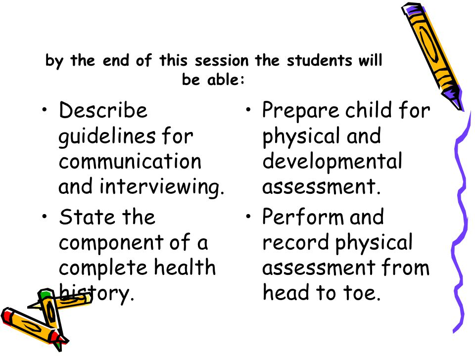 by the end of this session the students will be able: Describe guidelines for communication and interviewing. State the component of a complete health