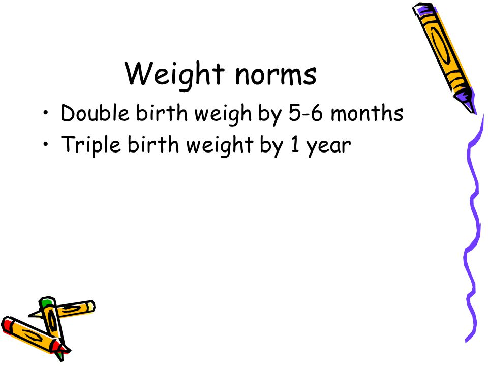 Weight norms Double birth weigh by 5-6 months Triple birth weight by 1 year