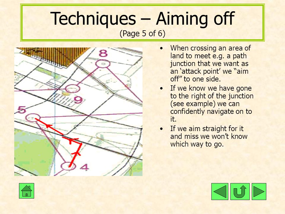"""When crossing an area of land to meet e.g. a path junction that we want as an 'attack point' we """"aim off"""" to one side. If we know we have gone to the"""