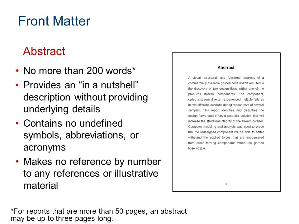 """No more than 200 words* Provides an """"in a nutshell"""" description without providing underlying details Contains no undefined symbols, abbreviations, or"""