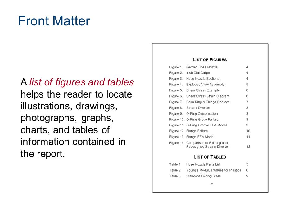A list of figures and tables helps the reader to locate illustrations, drawings, photographs, graphs, charts, and tables of information contained in t