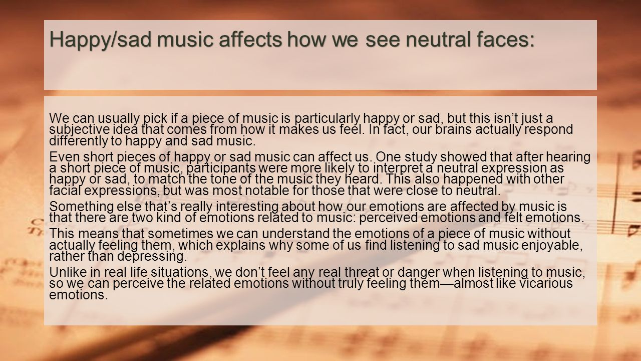 We can usually pick if a piece of music is particularly happy or sad, but this isn't just a subjective idea that comes from how it makes us feel. In f