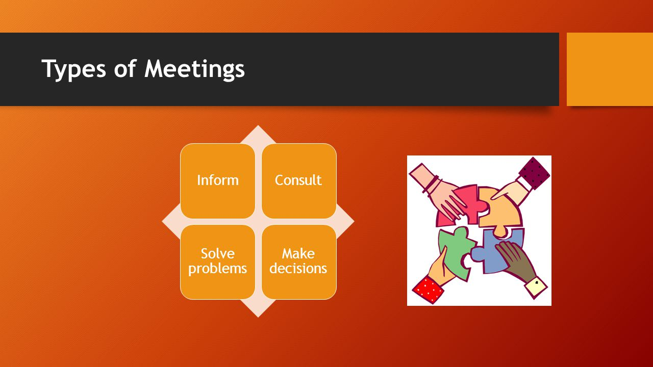 Types of Meetings InformConsult Solve problems Make decisions