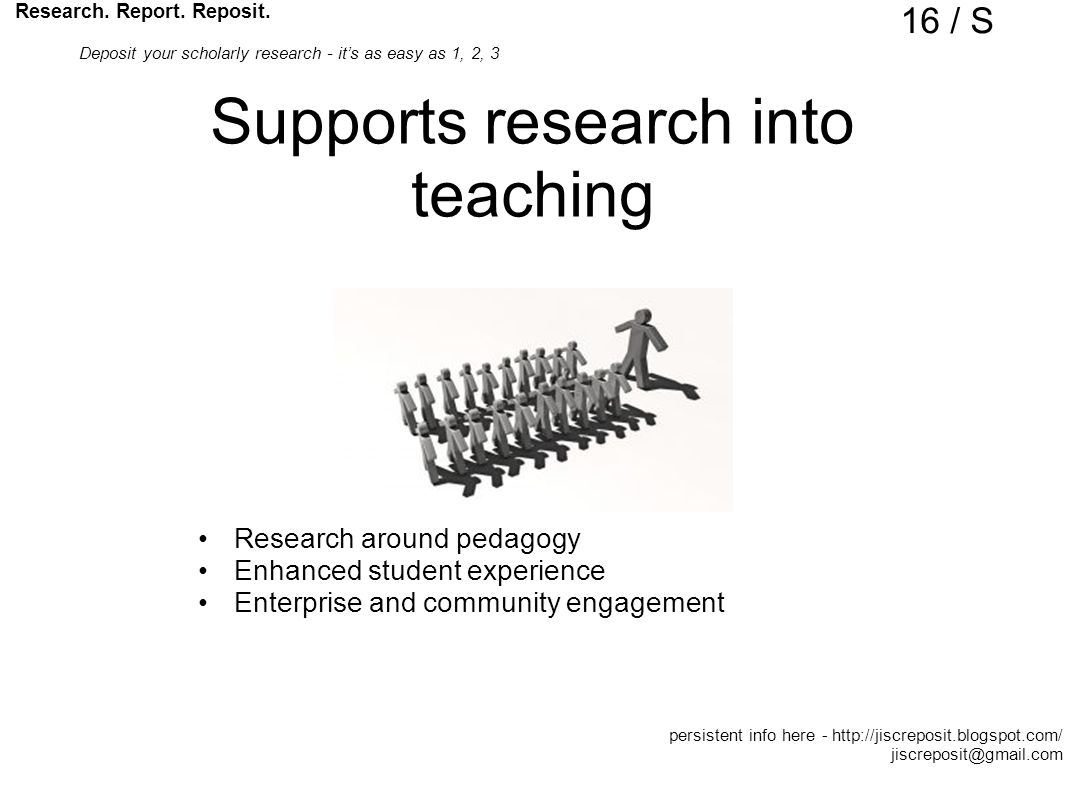 Supports research into teaching Research around pedagogy Enhanced student experience Enterprise and community engagement Research.