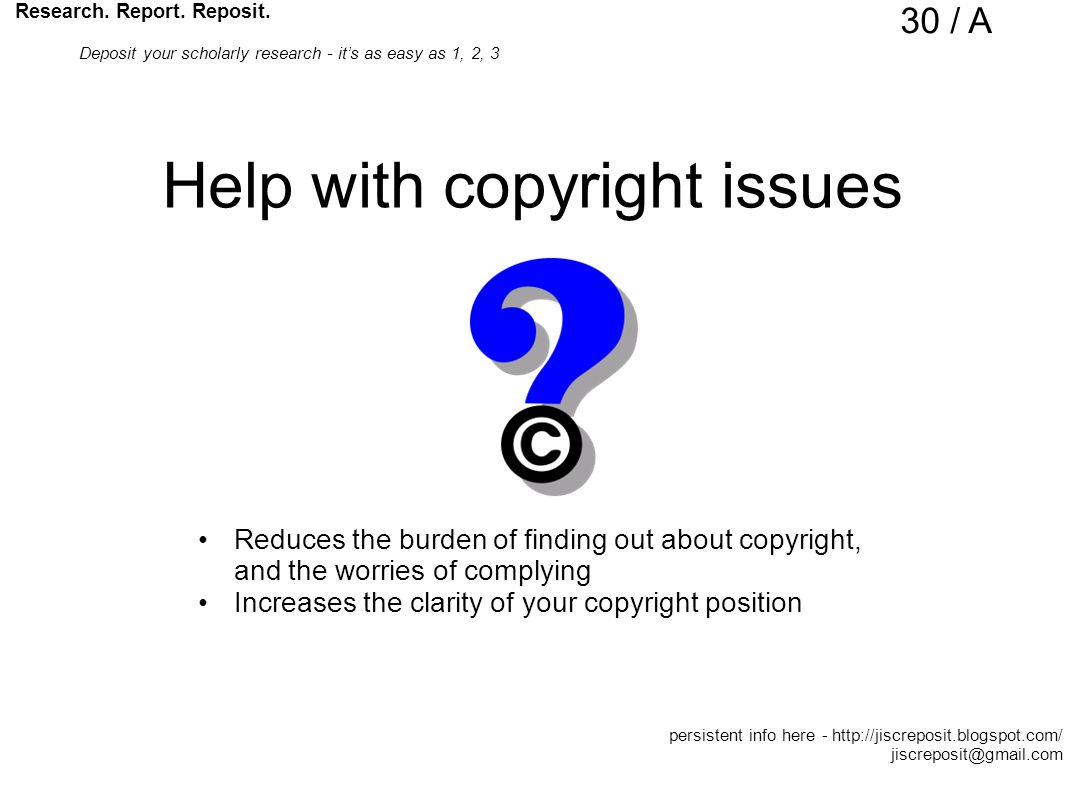 Help with copyright issues Reduces the burden of finding out about copyright, and the worries of complying Increases the clarity of your copyright position Research.