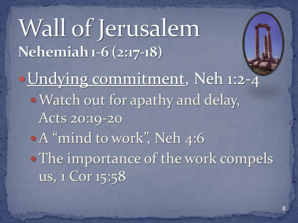 Undying commitment, Neh 1:2-4 Undying commitment, Neh 1:2-4 Watch out for apathy and delay, Acts 20:19-20 Watch out for apathy and delay, Acts 20:19-2