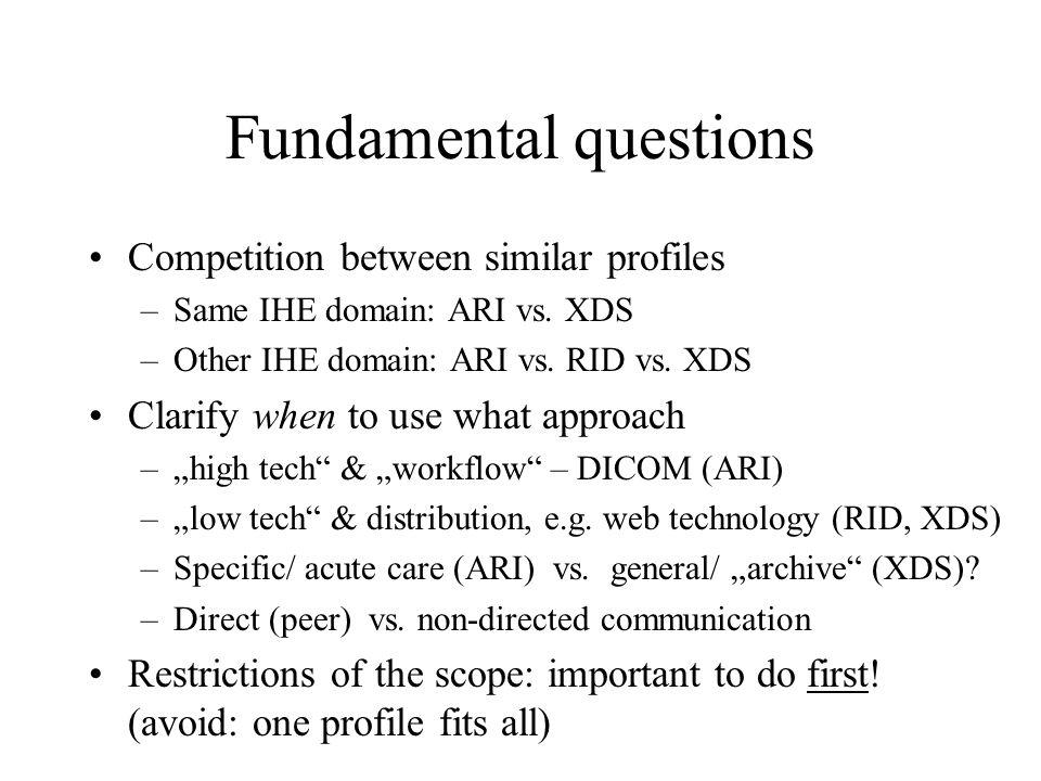 Fundamental questions Competition between similar profiles –Same IHE domain: ARI vs.