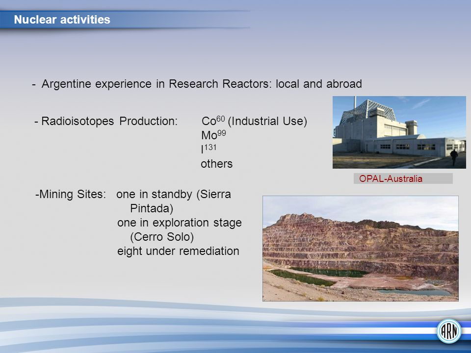 - Argentine experience in Research Reactors: local and abroad - Radioisotopes Production: Co 60 (Industrial Use) Mo 99 I 131 others -Mining Sites: one in standby (Sierra Pintada) one in exploration stage (Cerro Solo) eight under remediation Nuclear activities OPAL-Australia