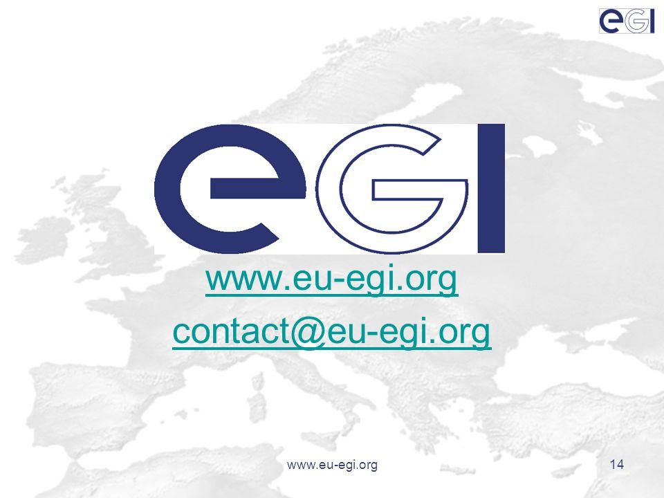 www.eu-egi.org14 www.eu-egi.org contact@eu-egi.org