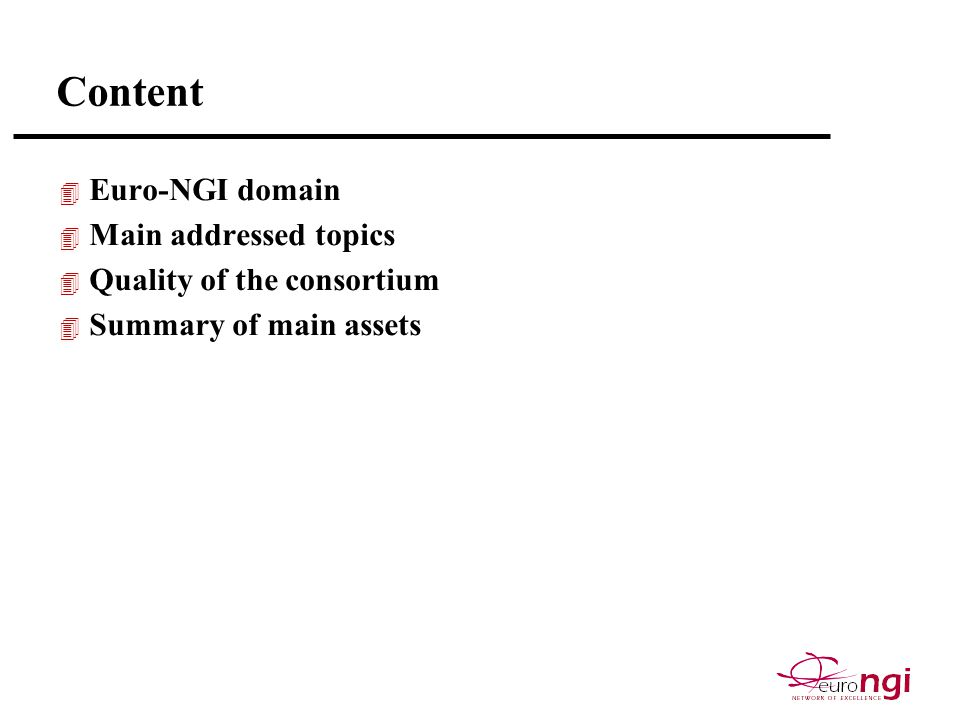 Content 4 Euro-NGI domain 4 Main addressed topics 4 Quality of the consortium 4 Summary of main assets