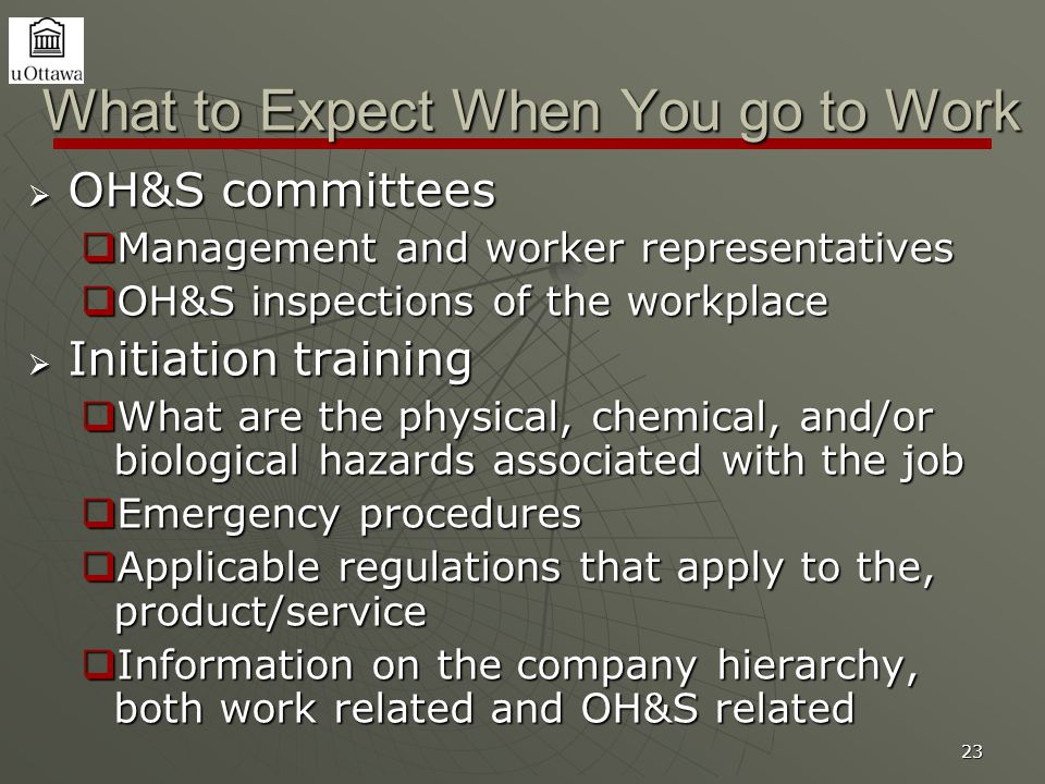 23 What to Expect When You go to Work  OH&S committees  Management and worker representatives  OH&S inspections of the workplace  Initiation train