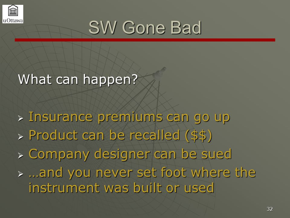 32 SW Gone Bad What can happen?  Insurance premiums can go up  Product can be recalled ($$)  Company designer can be sued  …and you never set foot