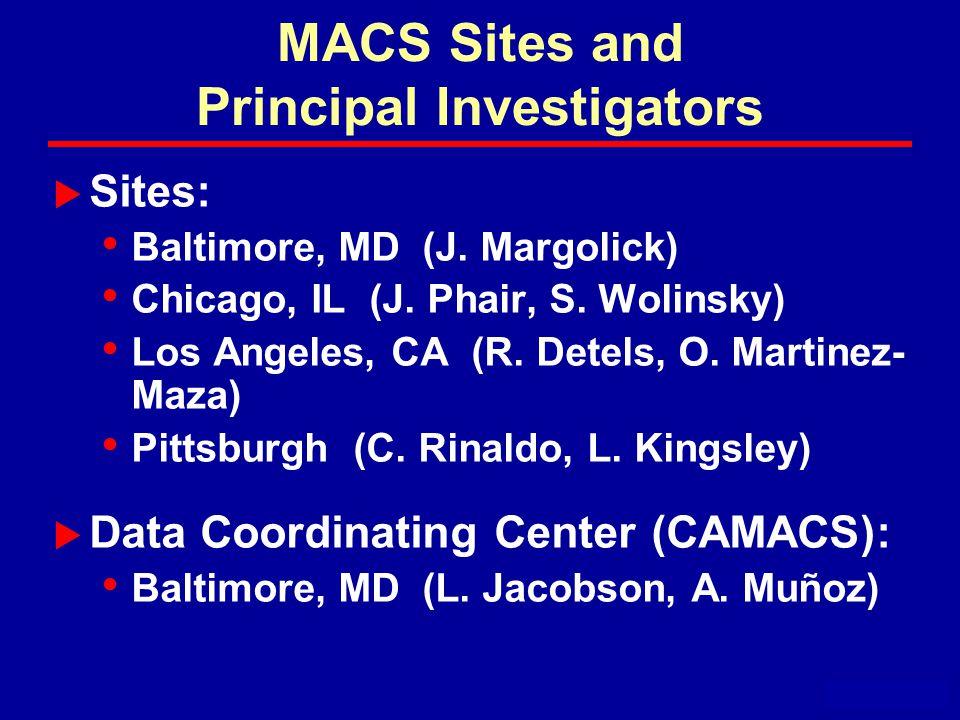 MACS Sites and Principal Investigators  Sites: Baltimore, MD (J.