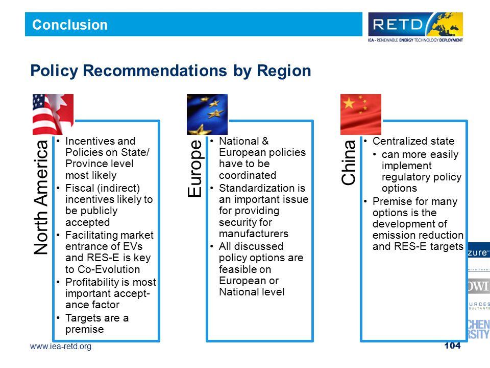 www.iea-retd.org Policy Recommendations by Region 104 Conclusion North America Incentives and Policies on State/ Province level most likely Fiscal (indirect) incentives likely to be publicly accepted Facilitating market entrance of EVs and RES-E is key to Co- Evolution Profitability is most important accept-ance factor Targets are a premise Europe National & European policies have to be coordinated Standardization is an important issue for providing security for manufacturers All discussed policy options are feasible on European or National level China Centralized state can more easily implement regulatory policy options Premise for many options is the development of emission reduction and RES-E targets
