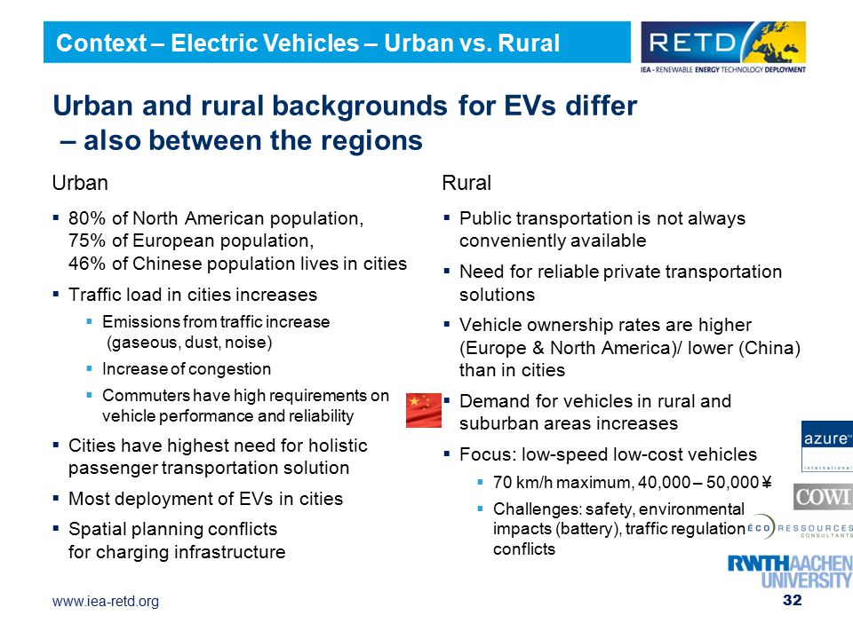 www.iea-retd.org Urban and rural backgrounds for EVs differ – also between the regions  80% of North American population, 75% of European population, 46% of Chinese population lives in cities  Traffic load in cities increases  Emissions from traffic increase (gaseous, dust, noise)  Increase of congestion  Commuters have high requirements on vehicle performance and reliability  Cities have highest need for holistic passenger transportation solution  Most deployment of EVs in cities  Spatial planning conflicts for charging infrastructure  Public transportation is not always conveniently available  Need for reliable private transportation solutions  Vehicle ownership rates are higher (Europe & North America)/ lower (China) than in cities  Demand for vehicles in rural and suburban areas increases  Focus: low-speed low-cost vehicles  70 km/h maximum, 40,000 – 50,000 ¥  Challenges: safety, environmental impacts (battery), traffic regulation conflicts 32 Context – Electric Vehicles – Urban vs.
