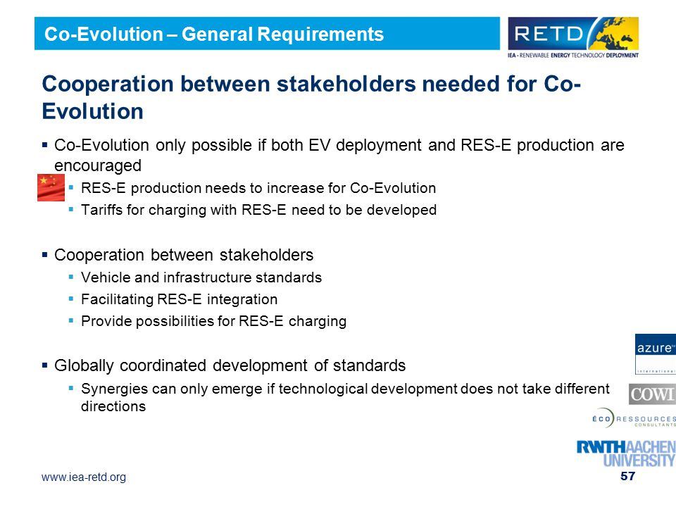 www.iea-retd.org Cooperation between stakeholders needed for Co- Evolution  Co-Evolution only possible if both EV deployment and RES-E production are encouraged  RES-E production needs to increase for Co-Evolution  Tariffs for charging with RES-E need to be developed  Cooperation between stakeholders  Vehicle and infrastructure standards  Facilitating RES-E integration  Provide possibilities for RES-E charging  Globally coordinated development of standards  Synergies can only emerge if technological development does not take different directions 57 Co-Evolution – General Requirements