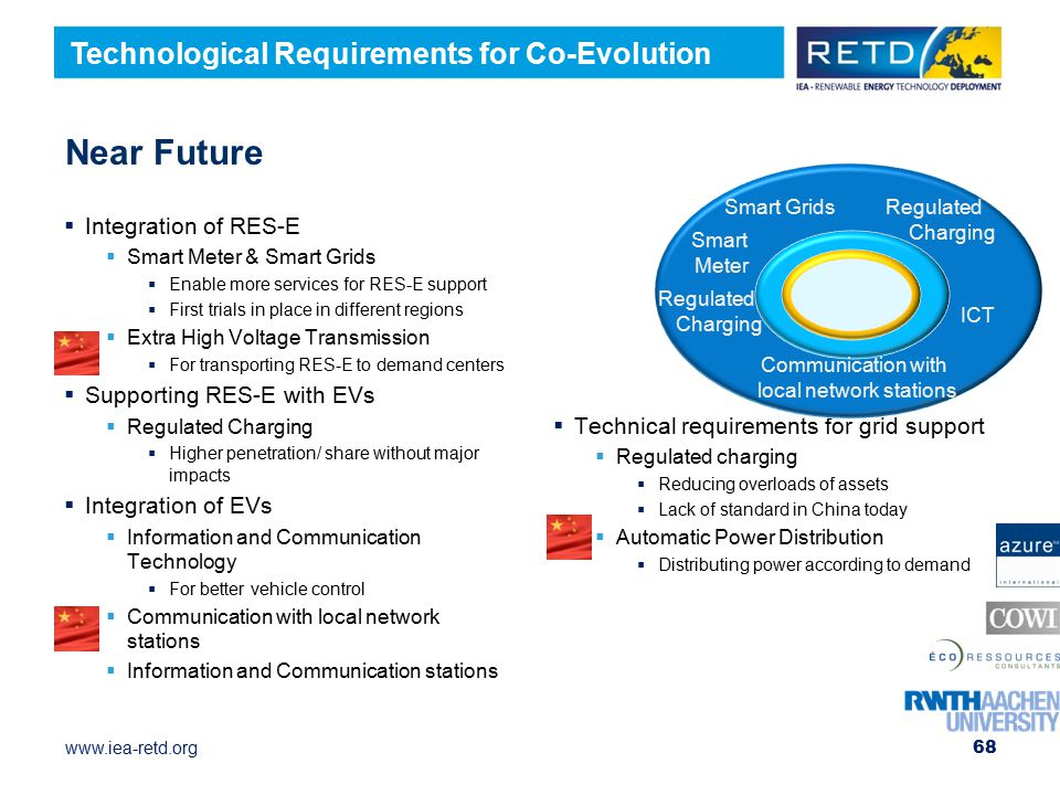 www.iea-retd.org  Technical requirements for grid support  Regulated charging  Reducing overloads of assets  Lack of standard in China today  Automatic Power Distribution  Distributing power according to demand Near Future  Integration of RES-E  Smart Meter & Smart Grids  Enable more services for RES-E support  First trials in place in different regions  Extra High Voltage Transmission  For transporting RES-E to demand centers  Supporting RES-E with EVs  Regulated Charging  Higher penetration/ share without major impacts  Integration of EVs  Information and Communication Technology  For better vehicle control  Communication with local network stations  Information and Communication stations 68 Smart GridsRegulated Charging ICT Communication with local network stations Regulated Charging Smart Meter Technological Requirements for Co-Evolution