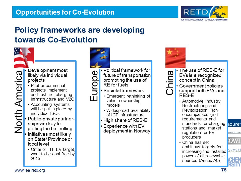 www.iea-retd.org Policy frameworks are developing towards Co-Evolution North America Development most likely via individual projects Pilot or communal projects implement and test first charging infrastructure and V2G Accounting systems will be put in place by individual ISOs Public-private partner-ships are key to getting the ball rolling Initiatives most likely on State/ Province or local level Ontario: FIT, EV target, want to be coal-free by 2015 Europe Political framework for future of transportation promoting the use of RE for fuels Societal framework Emergent rethinking of vehicle ownership models Widespread availability of ICT infrastructure High share of RES-E Experience with EV deployment in Norway China The use of RES-E for EVs is a recognized concept in China Government policies support both EVs and RES-E Automotive Industry Restructuring and Revitalization Plan encompasses grid requirements and standards for charging stations and market regulation for EV producers China has set ambitious targets for increasing the installed power of all renewable sources (Annex A9) 75 Opportunities for Co-Evolution