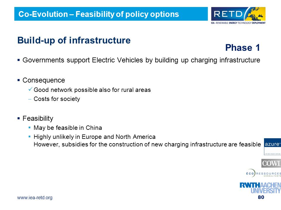 www.iea-retd.org Build-up of infrastructure  Governments support Electric Vehicles by building up charging infrastructure  Consequence Good network possible also for rural areas  Costs for society  Feasibility  May be feasible in China  Highly unlikely in Europe and North America However, subsidies for the construction of new charging infrastructure are feasible 80 Co-Evolution – Feasibility of policy options Phase 1