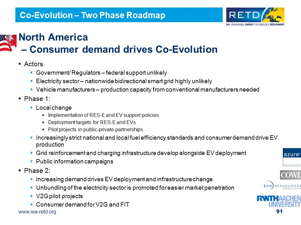 www.iea-retd.org North America – Consumer demand drives Co-Evolution  Actors  Government/ Regulators – federal support unlikely  Electricity sector – nationwide bidirectional smart grid highly unlikely  Vehicle manufacturers – production capacity from conventional manufacturers needed  Phase 1:  Local change  Implementation of RES-E and EV support policies  Deployment targets for RES-E and EVs  Pilot projects in public-private-partnerships  Increasingly strict national and local fuel efficiency standards and consumer demand drive EV production  Grid reinforcement and charging infrastructure develop alongside EV deployment  Public information campaigns  Phase 2:  Increasing demand drives EV deployment and infrastructure change  Unbundling of the electricity sector is promoted for easier market penetration  V2G pilot projects  Consumer demand for V2G and FIT 91 Co-Evolution – Two Phase Roadmap