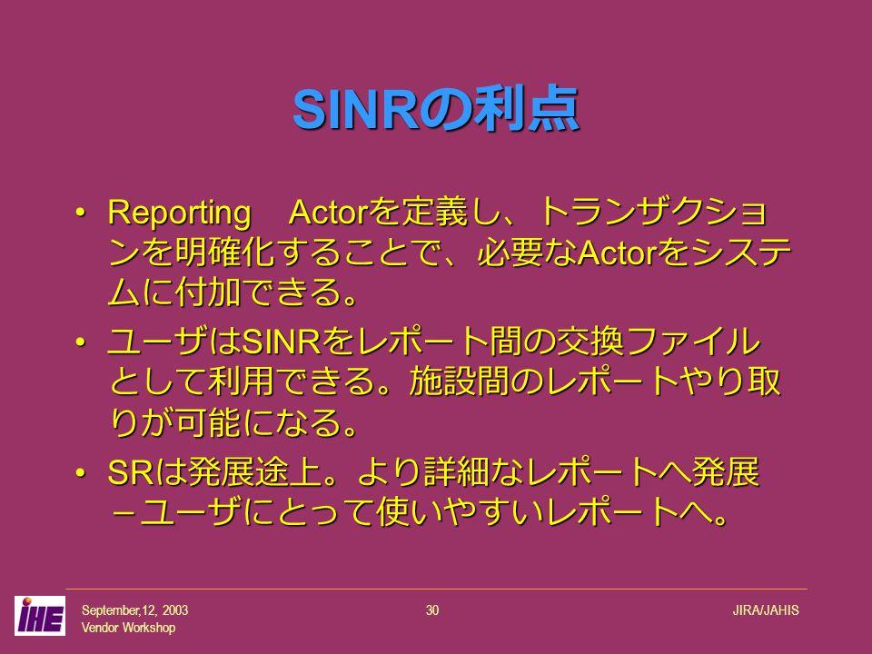 September,12, 2003 Vendor Workshop JIRA/JAHIS30 SINR の利点 Reporting Actor を定義し、トランザクショ ンを明確化することで、必要な Actor をシステ ムに付加できる。Reporting Actor を定義し、トランザクショ ンを明確化することで、必要な Actor をシステ ムに付加できる。 ユーザは SINR をレポート間の交換ファイル として利用できる。施設間のレポートやり取 りが可能になる。 ユーザは SINR をレポート間の交換ファイル として利用できる。施設間のレポートやり取 りが可能になる。 SR は発展途上。より詳細なレポートへ発展 -ユーザにとって使いやすいレポートへ。SR は発展途上。より詳細なレポートへ発展 -ユーザにとって使いやすいレポートへ。