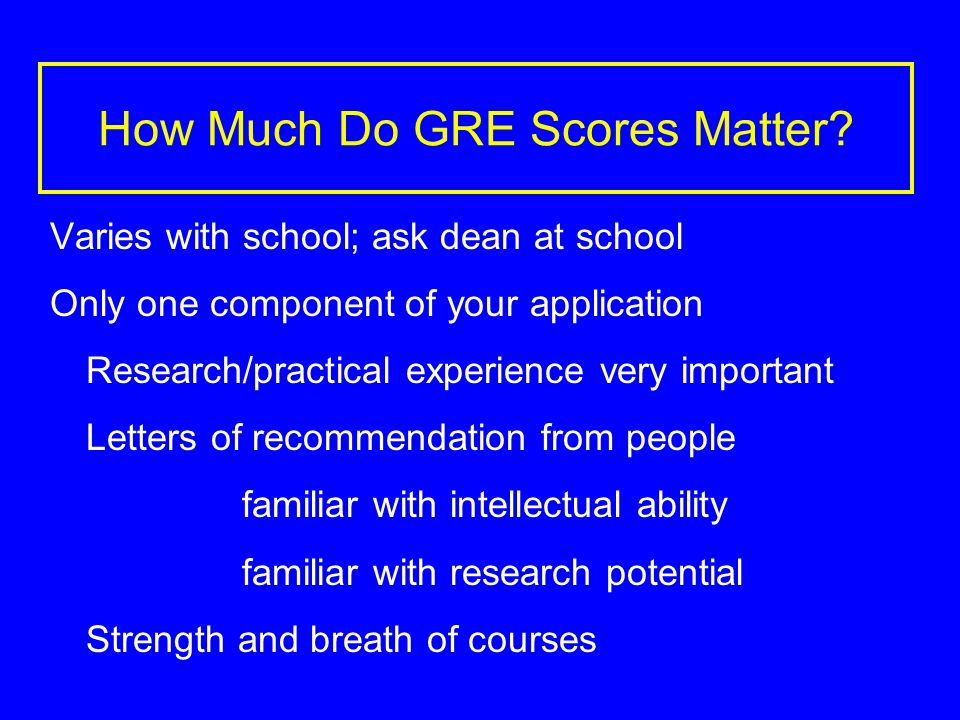 How Much Do GRE Scores Matter.