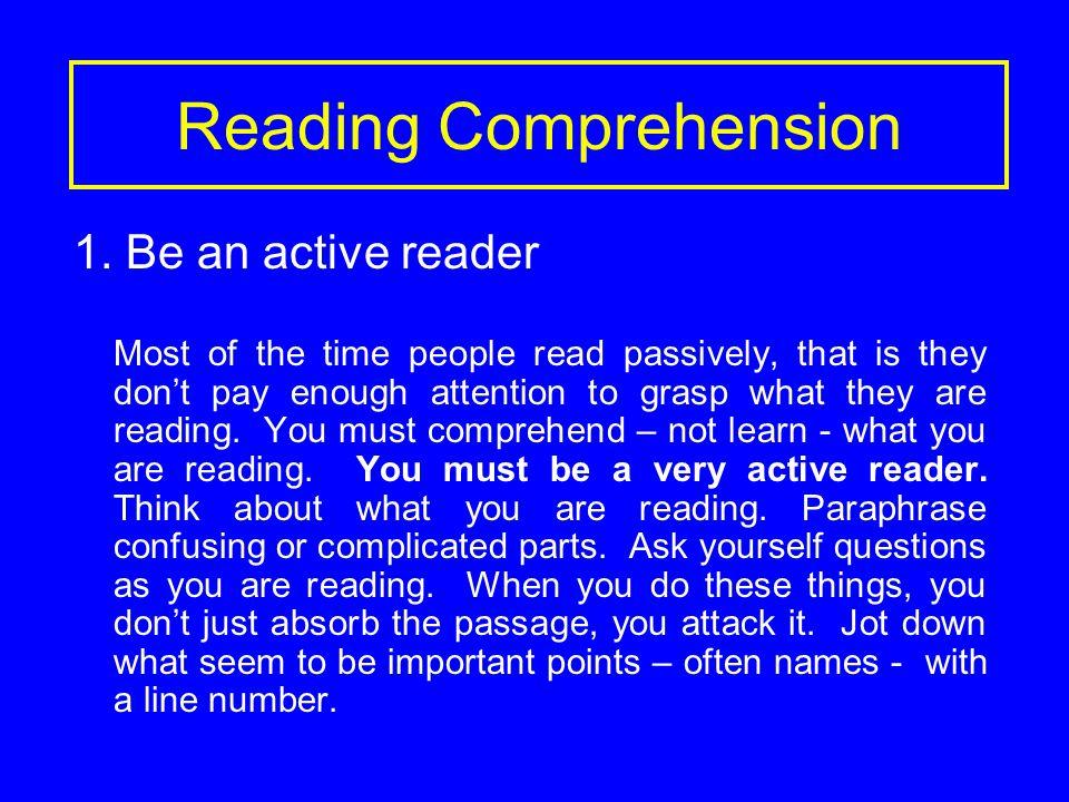 Reading Comprehension 1.