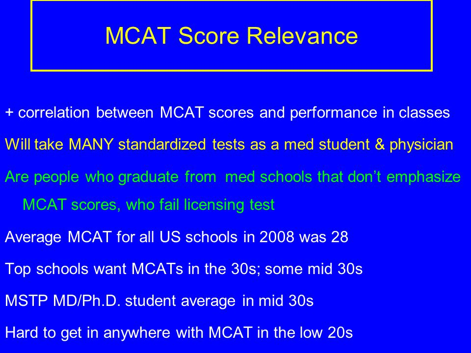 MCAT Score Relevance + correlation between MCAT scores and performance in classes Will take MANY standardized tests as a med student & physician Are people who graduate from med schools that don't emphasize MCAT scores, who fail licensing test Average MCAT for all US schools in 2008 was 28 Top schools want MCATs in the 30s; some mid 30s MSTP MD/Ph.D.