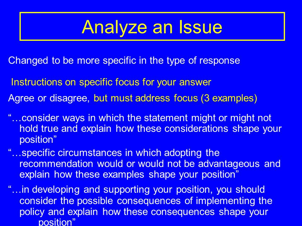 Analyze an Issue Changed to be more specific in the type of response Instructions on specific focus for your answer Agree or disagree, but must address focus (3 examples) …consider ways in which the statement might or might not hold true and explain how these considerations shape your position …specific circumstances in which adopting the recommendation would or would not be advantageous and explain how these examples shape your position …in developing and supporting your position, you should consider the possible consequences of implementing the policy and explain how these consequences shape your position