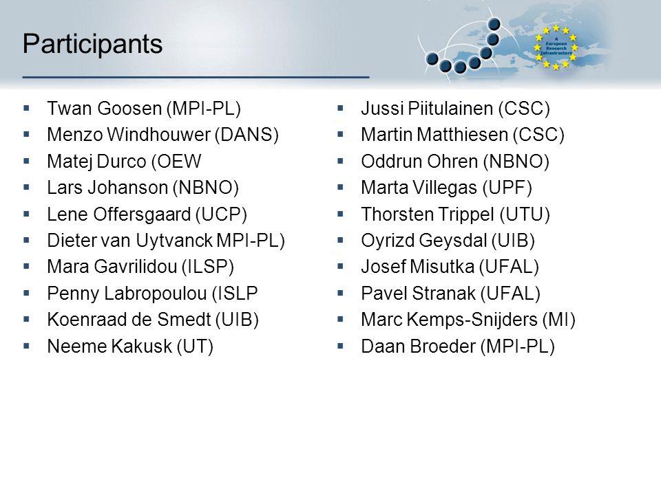 Participants  Twan Goosen (MPI-PL)  Menzo Windhouwer (DANS)  Matej Durco (OEW  Lars Johanson (NBNO)  Lene Offersgaard (UCP)  Dieter van Uytvanck MPI-PL)  Mara Gavrilidou (ILSP)  Penny Labropoulou (ISLP  Koenraad de Smedt (UIB)  Neeme Kakusk (UT)  Jussi Piitulainen (CSC)  Martin Matthiesen (CSC)  Oddrun Ohren (NBNO)  Marta Villegas (UPF)  Thorsten Trippel (UTU)  Oyrizd Geysdal (UIB)  Josef Misutka (UFAL)  Pavel Stranak (UFAL)  Marc Kemps-Snijders (MI)  Daan Broeder (MPI-PL)