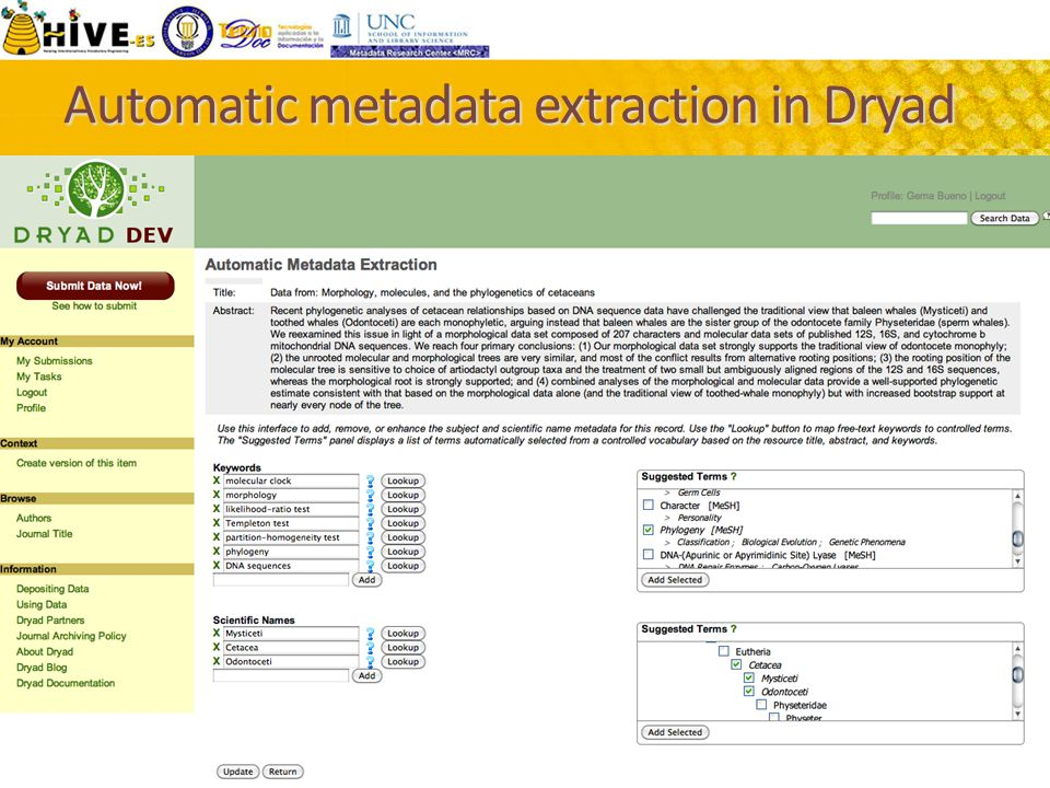 Automatic metadata extraction in Dryad