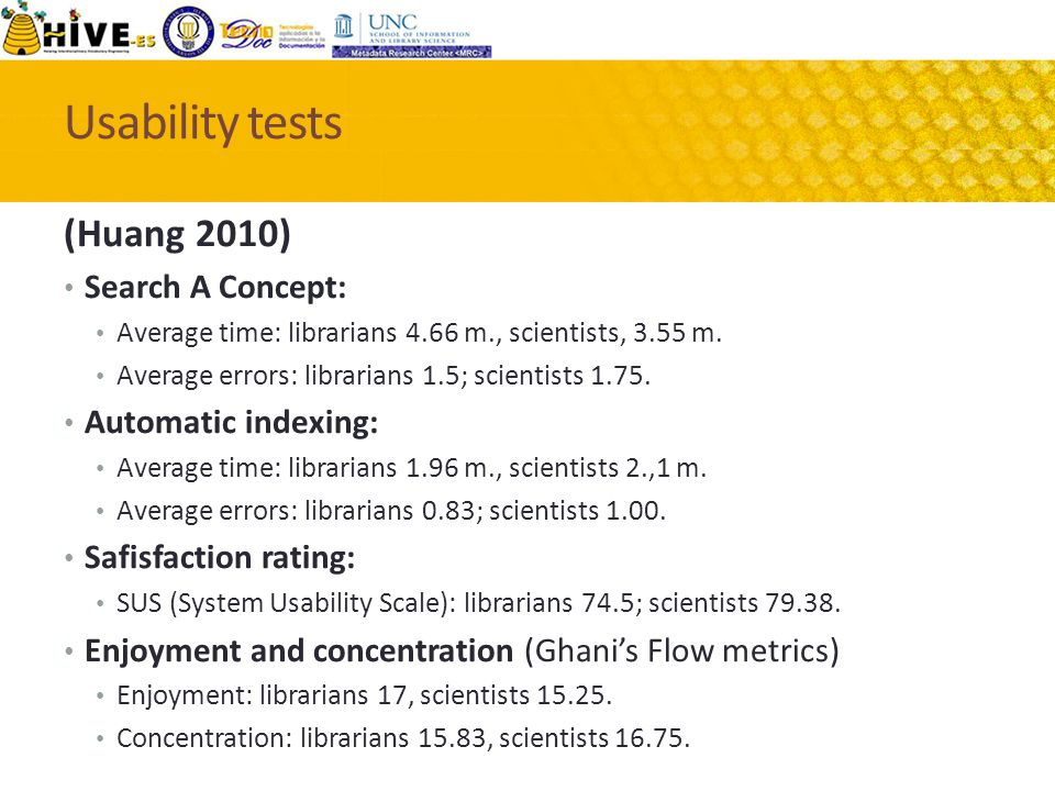 Usability tests (Huang 2010) Search A Concept: Average time: librarians 4.66 m., scientists, 3.55 m.