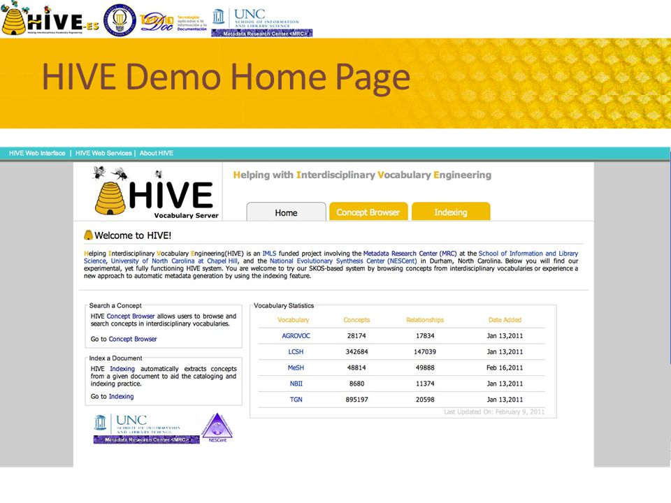 HIVE Demo Home Page
