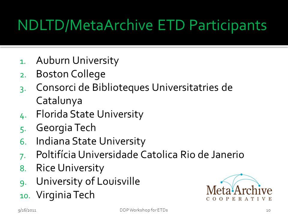 NDLTD/MetaArchive ETD Participants 1. Auburn University 2.