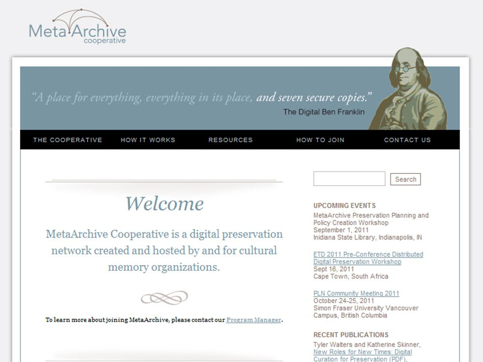 MetaArchive Home Page 9/16/2011DDP Workshop for ETDs43