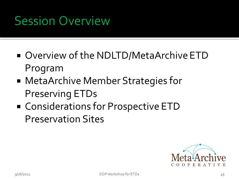  Overview of the NDLTD/MetaArchive ETD Program  MetaArchive Member Strategies for Preserving ETDs  Considerations for Prospective ETD Preservation Sites 459/16/2011DDP Workshop for ETDs