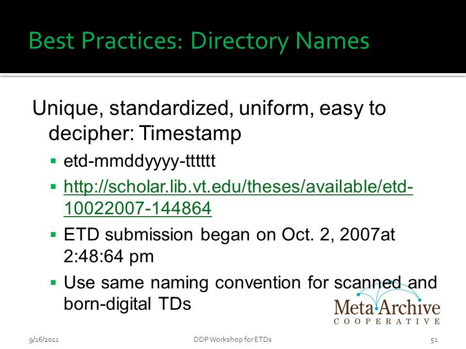 Best Practices: Directory Names Unique, standardized, uniform, easy to decipher: Timestamp  etd-mmddyyyy-tttttt  http://scholar.lib.vt.edu/theses/available/etd- 10022007-144864 http://scholar.lib.vt.edu/theses/available/etd- 10022007-144864  ETD submission began on Oct.
