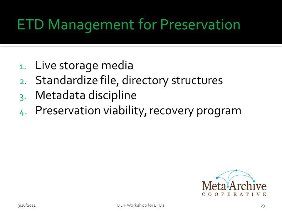 ETD Management for Preservation 1. Live storage media 2.
